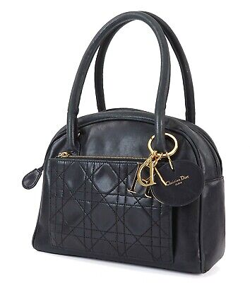Authentic CHRISTIAN DIOR Black Quilted Leather Tote Hand Bag Purse #32544