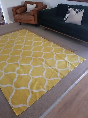 Yellow mustard Indian rug 100% wool 100% hand-woven authentic rug