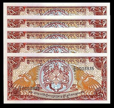 Bhutan 5 Ngultrum 1985 1990 Unc- , 5 Pcs Lot P 14B Sign 3 C/4 Low Serial 000****