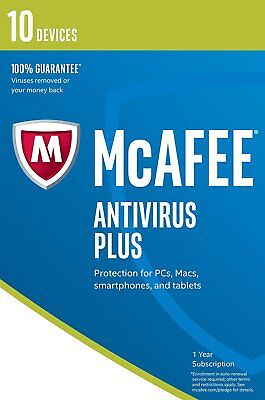 Mcafee 2017 Anti-virus Plus 1 Año 10 Usuarios para PC/Mac OS Free Mejora a 2019