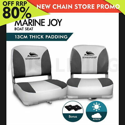 Seamanship 2X Folding Boat Seats Seat Marine Seating Set All Weather Swivel Grey