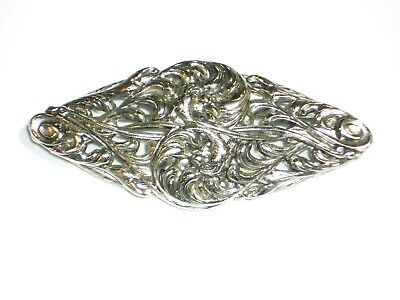 Vintage Ornate polished Cast Metal Pin Silver tone brooch very ornate well made