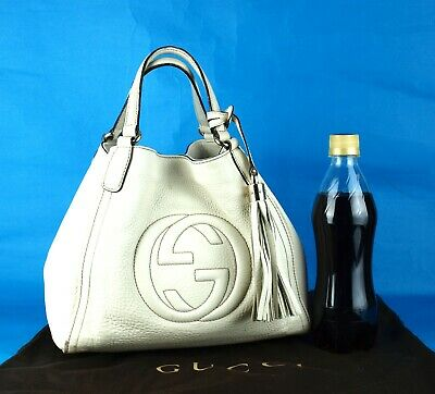 a2bd2b37b22e Authentic GUCCI SOHO Off White Leather Small Hand Bag Purse Italy 336751  525040