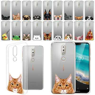 "For Nokia 7.1 2018 5.84"" Animal Clear TPU Soft Gel Case Phone Cover Skin"
