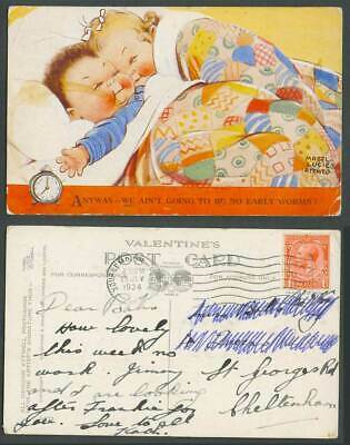 MABEL LUCIE ATTWELL 1934 Old Postcard We ain't going to be no early worms! 2472