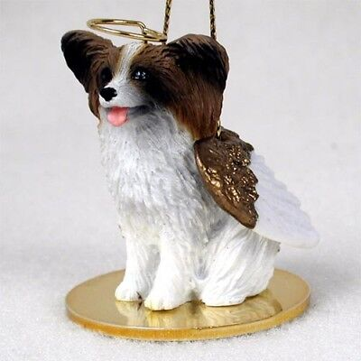 PAPILLON brown & white dog ANGEL Ornament HAND PAINTED resin FIGURINE Christmas