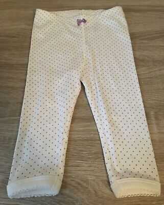 Baby Girls White & Lilac Cute Leggings Trousers 4-6 Months New Bnwot
