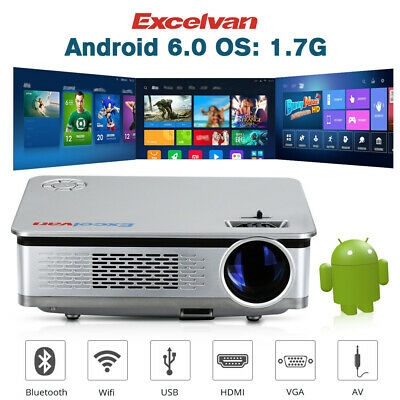 LCD LED Projector Beamer Android 6.0 1080P 6000Lumen WiFi Heimkino USB/HDMI/VGA