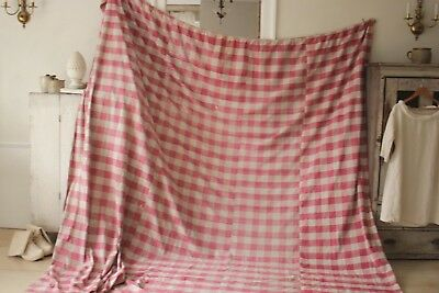 Antique French Vichy check fabric ~ Rose red ~ 1700's early c1750-1800