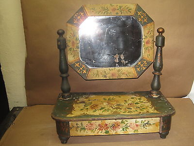 Antique Primitive Mirror Table Top Hand Painted With Drawer All Original