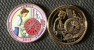 2019 P Colorized & 24K Gold Layered Lowell (Massachusetts) 2 Coin Quarter Set