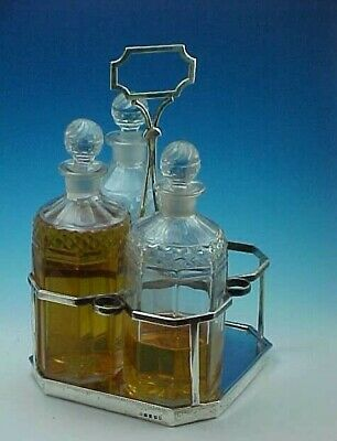 1803 Sterling Silver Decanter Caddy And 3 Decanters - Urquhart & Hart Of London