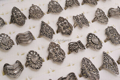5pcs Wholesale Jewelry Lots Mixed Style Tibet Silver Vintage Rings Free Ship