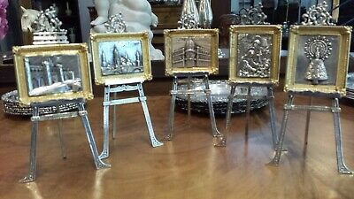450g STERLING SILVER virtu miniatures set 5 paintings&stands numered collection