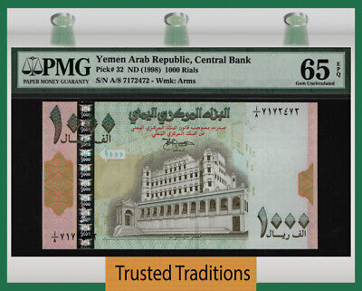 Tt Pk 32 Nd (1998) Yemen Arab Republic 1000 Rials Pmg 65 Epq Gem Uncirculated!
