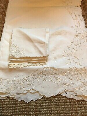 Huge Antique Linen Tablecloth With Napkins