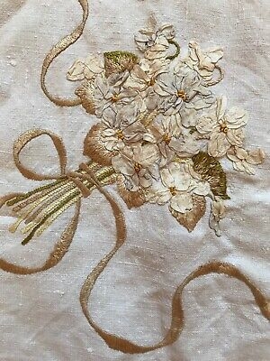 Beautiful Vintage Linen Hand Embrodered And Ribbon Work Tablecloth