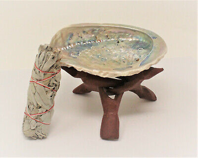 "LARGE LIGHT Abalone Shell 5-6"" with Stand White Sage Smudge Stick (Smudging Kit)"