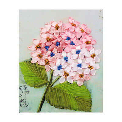 Ribbon Embroidery Cross Stitch Kit Pink Flower for DIY Home Decor 20x25cm
