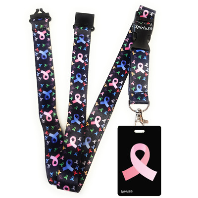 New Design SpiriuS Lanyard Neck Strap CANCER LOGO RAINBOW + ID badge holder