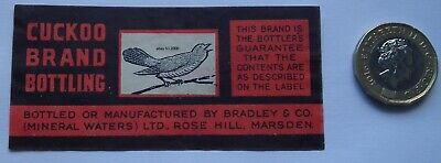 Rare Antique Cuckoo Mineral Waters Drink Label Bradley & Co  Rose Hill Marsden
