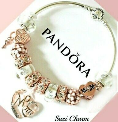 Authentic Pandora Charm Bracelet With Rose Gold MOM Flower European Charms.New