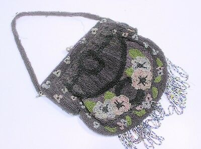 Large Antique Victorian Cut Steel/Glass Beaded Bag/Purse Ping Purple Floral Silk