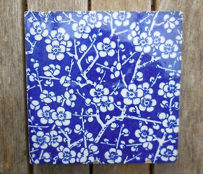 "Rare Antique Mintons China Works Blue & White Prunus Blossom 6"" x 6"" Tile"