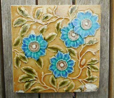 Antique Blue Raised Flowers Majolica Victorian Fireplace Tile c1880's