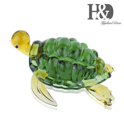 Hand Blown Green Turtle, Beautiful Home Decor, Handmade Glass Art, Glass Animal