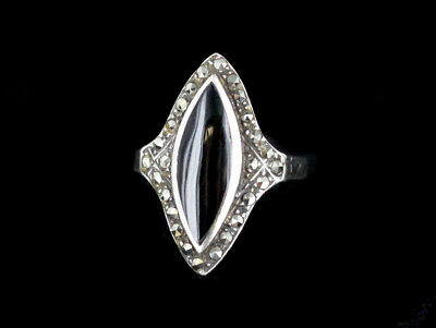 Vintage Deco Sterling Silver Marcasite Marquise Inlay Black Onyx Ring Size 7.25