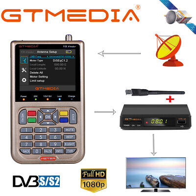 GTMEDIA Digital HD FTA TV Decorder+1080P DVB-S2/S2X Satellite Finder+WIFI Antenn