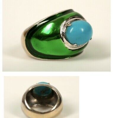 Antique Style Green Enamel Solid 18ct White Gold Ring With Large turquoise Stone