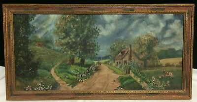 Antique Oil Painting O/B Farmhouse Pasture Cow Landscape Country Road Sgnd Calif