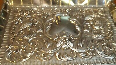 265g STERLING SILVER HERALDIC TRAY CENTER HEAVY CARVING colonial STYLE