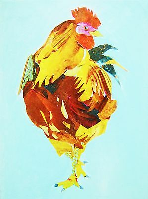 Red chicken / rooster cockerel on canvas acrylic transfer from original collage