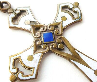 Very Beautiful Ancient Cross Pendant - Enamel Art