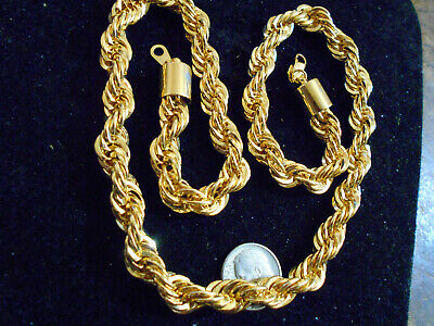 bling gold plated heavy rapper 20 in rope chain necklace fashion hip hop jewelry