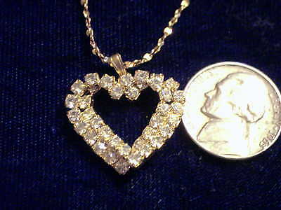 bling gold plated heart iced out cubic fashion pendant charm hip hop necklace gp