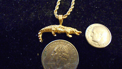 bling gold plated swamp alligator reptile pendant charm hip hop necklace jewelry