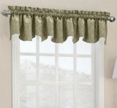 """*Sun Zero Dion Rod-Pocket Thermal Lined Shaped Valance 40""""Wx18""""L Taupe/Gold NEW"""