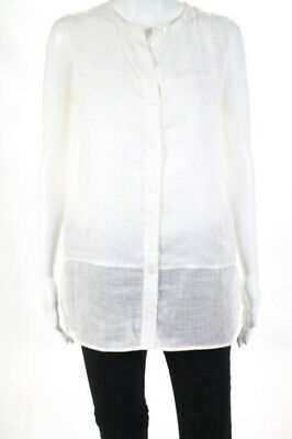 9949b7d3d Vince Women's Button Down Blouse Size 6 White Cotton Sleeveless Side Slits