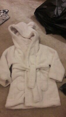 BABY Boy White Fleece Dressing Gown NAME NOAH Age 12-24 Months 1-2 Years Hooded