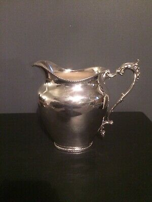 Vintage Silver Plate Serving Jug, Ornate Trim And Handle, SW And S