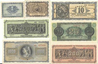 Greece 1942 - 1944 Banknotes x 7 Different Used / Uncirculated WW2