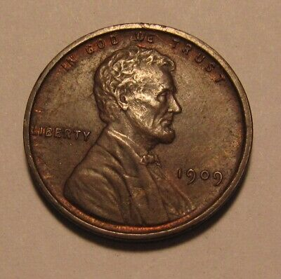 1909 VDB Lincoln Cent Penny - Red/Brown AU+ Condition - 1SU