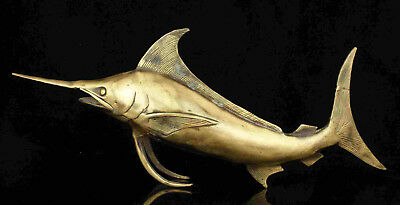 Asian Collectible Handwork Cast Bronze Shark Statue Desktop decoration