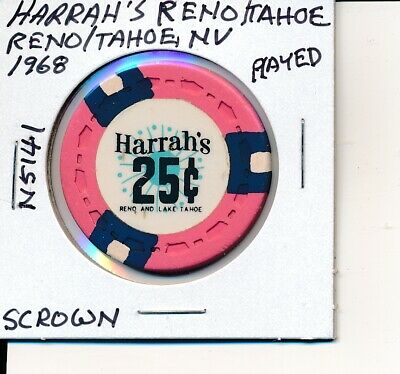 $.25 Casino Chip Harrah's Reno/Tahoe Reno & Tahoe Nv 1968 Scrown #N5141 Played