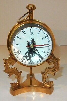 Huge Vintage Art Deco 1939 Style Glass Ball Pocket Watch Clock with Stand