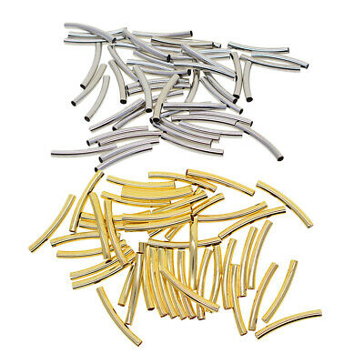 100x Gold/Silver Plated Smooth Curved Tube Elbow Spacer Noodle Beads 30X3mm